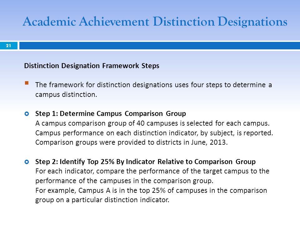 Distinction Designation Framework Steps The framework for distinction designations uses four steps to determine a campus distinction.