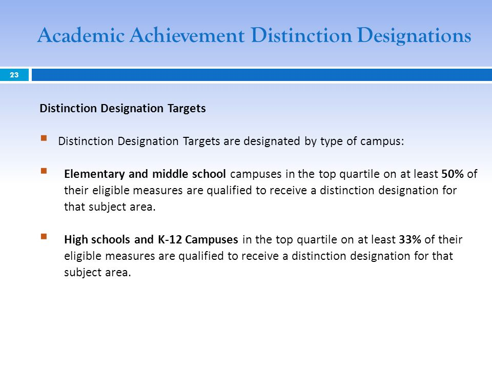 Distinction Designation Targets Distinction Designation Targets are designated by type of campus: Elementary and middle school campuses in the top quartile on at least 50% of their eligible measures are qualified to receive a distinction designation for that subject area.