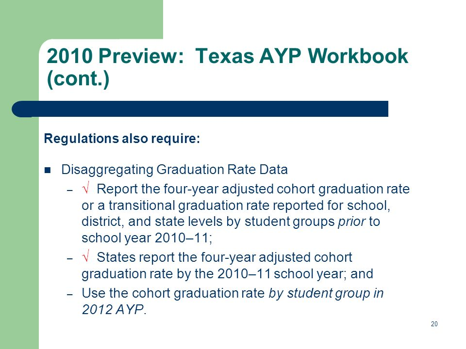 Regulations also require: Disaggregating Graduation Rate Data – Report the four-year adjusted cohort graduation rate or a transitional graduation rate reported for school, district, and state levels by student groups prior to school year 2010–11; – States report the four-year adjusted cohort graduation rate by the 2010–11 school year; and – Use the cohort graduation rate by student group in 2012 AYP.