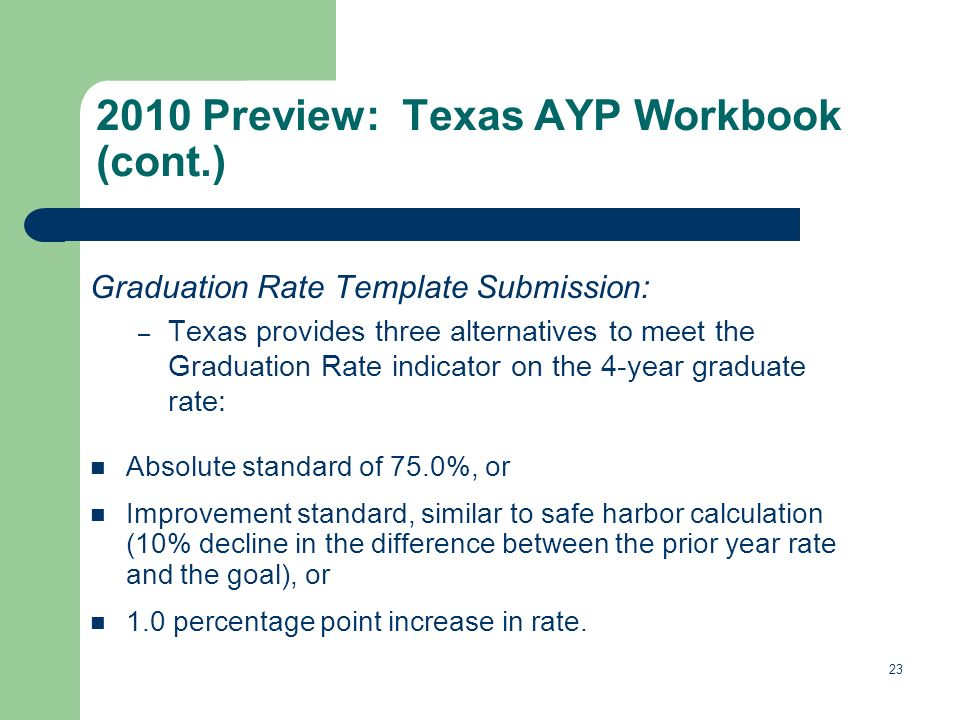 Graduation Rate Template Submission: – Texas provides three alternatives to meet the Graduation Rate indicator on the 4-year graduate rate: Absolute standard of 75.0%, or Improvement standard, similar to safe harbor calculation (10% decline in the difference between the prior year rate and the goal), or 1.0 percentage point increase in rate.