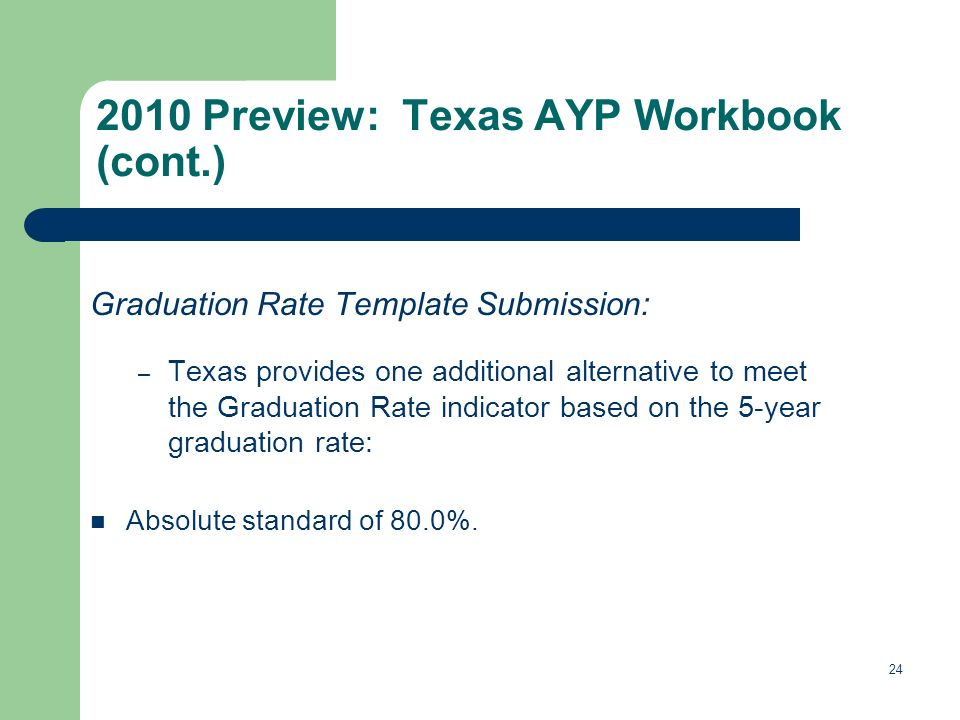 Graduation Rate Template Submission: – Texas provides one additional alternative to meet the Graduation Rate indicator based on the 5-year graduation rate: Absolute standard of 80.0%.