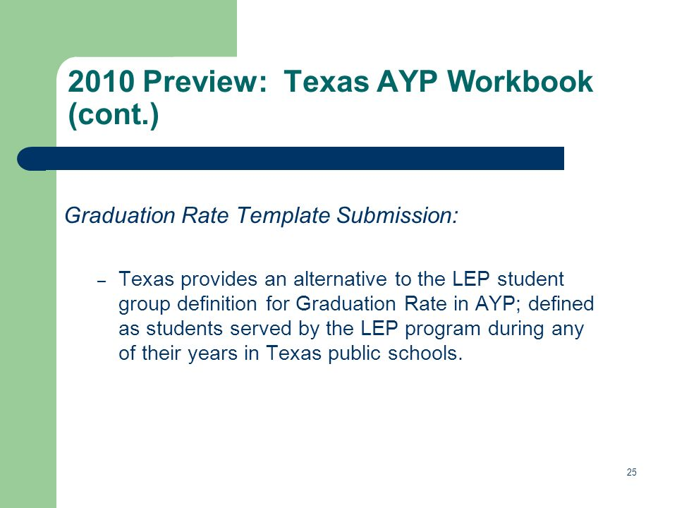 Graduation Rate Template Submission: – Texas provides an alternative to the LEP student group definition for Graduation Rate in AYP; defined as students served by the LEP program during any of their years in Texas public schools.