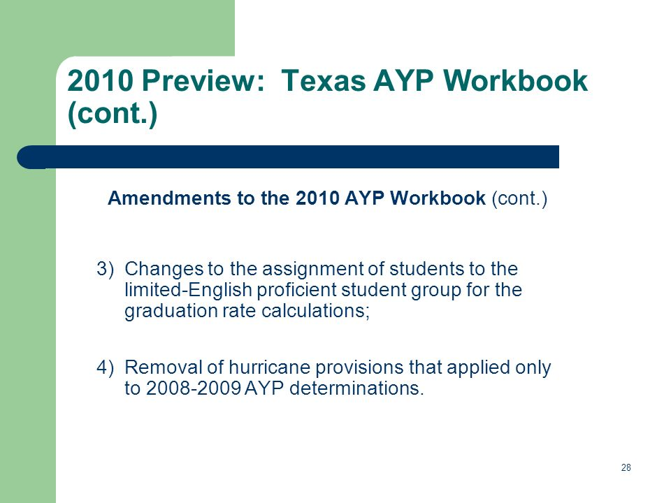 28 2010 Preview: Texas AYP Workbook (cont.) Amendments to the 2010 AYP Workbook (cont.) 3)Changes to the assignment of students to the limited-English proficient student group for the graduation rate calculations; 4)Removal of hurricane provisions that applied only to 2008-2009 AYP determinations.