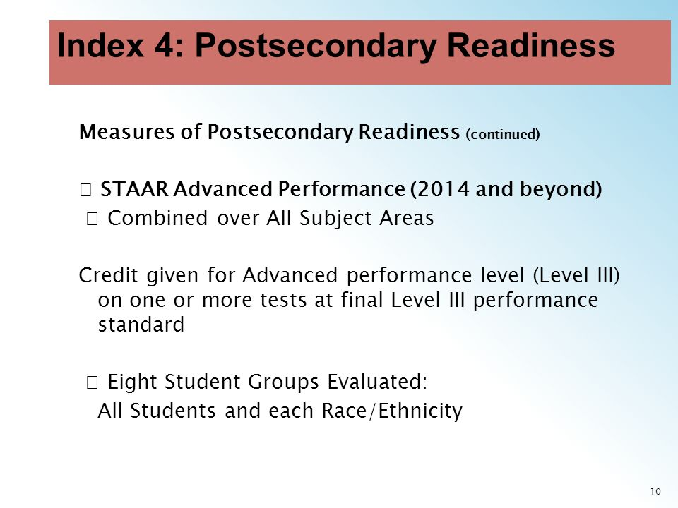 10 Measures of Postsecondary Readiness (continued) STAAR Advanced Performance (2014 and beyond) Combined over All Subject Areas Credit given for Advanced performance level (Level III) on one or more tests at final Level III performance standard Eight Student Groups Evaluated: All Students and each Race/Ethnicity