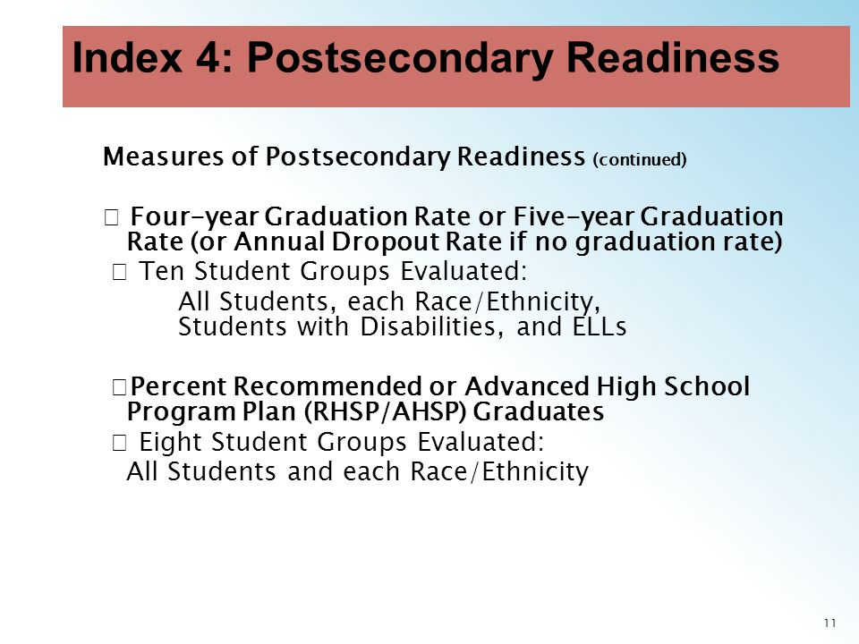11 Measures of Postsecondary Readiness (continued) Four-year Graduation Rate or Five-year Graduation Rate (or Annual Dropout Rate if no graduation rate) Ten Student Groups Evaluated: All Students, each Race/Ethnicity, Students with Disabilities, and ELLs Percent Recommended or Advanced High School Program Plan (RHSP/AHSP) Graduates Eight Student Groups Evaluated: All Students and each Race/Ethnicity
