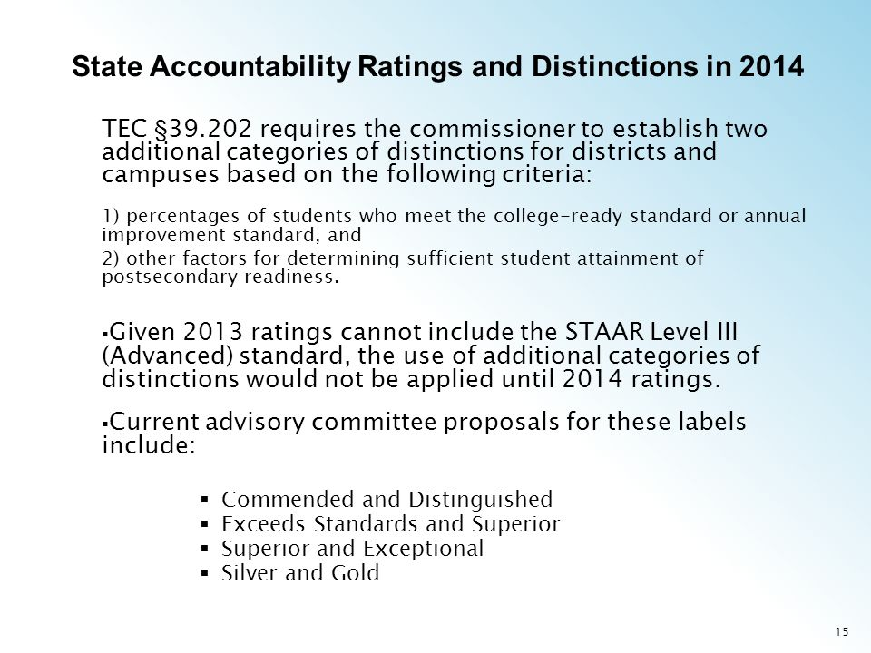 15 TEC § requires the commissioner to establish two additional categories of distinctions for districts and campuses based on the following criteria: 1) percentages of students who meet the college-ready standard or annual improvement standard, and 2) other factors for determining sufficient student attainment of postsecondary readiness.