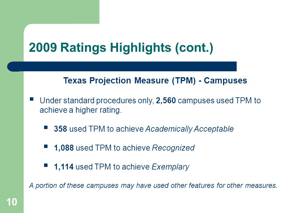2009 Ratings Highlights (cont.) 10 Texas Projection Measure (TPM) - Campuses Under standard procedures only, 2,560 campuses used TPM to achieve a higher rating.