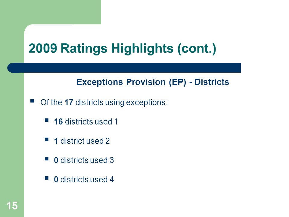 15 2009 Ratings Highlights (cont.) Exceptions Provision (EP) - Districts Of the 17 districts using exceptions: 16 districts used 1 1 district used 2 0 districts used 3 0 districts used 4