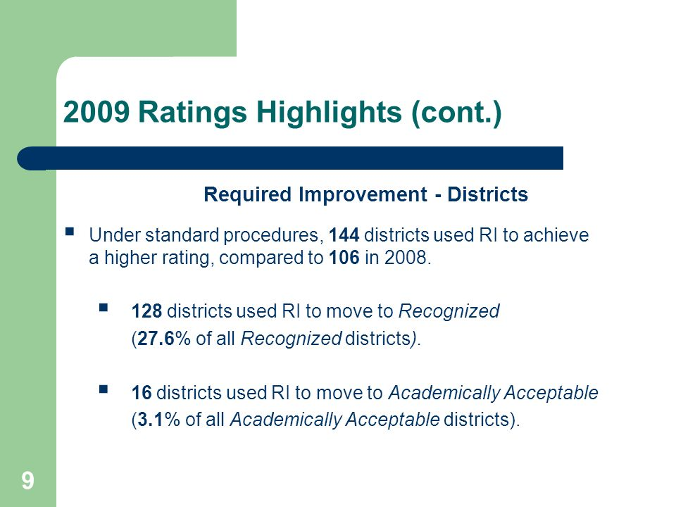 9 2009 Ratings Highlights (cont.) Required Improvement - Districts Under standard procedures, 144 districts used RI to achieve a higher rating, compared to 106 in 2008.