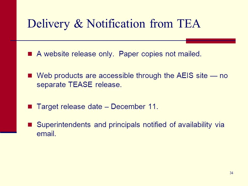 34 Delivery & Notification from TEA A website release only.