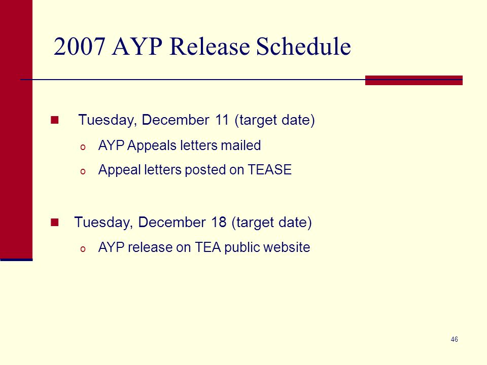 46 2007 AYP Release Schedule Tuesday, December 11 (target date) o AYP Appeals letters mailed o Appeal letters posted on TEASE Tuesday, December 18 (target date) o AYP release on TEA public website