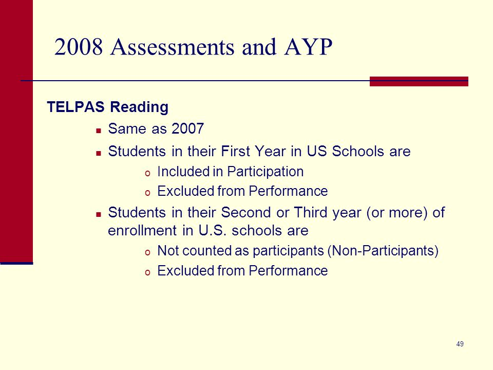 49 2008 Assessments and AYP TELPAS Reading Same as 2007 Students in their First Year in US Schools are o Included in Participation o Excluded from Performance Students in their Second or Third year (or more) of enrollment in U.S.
