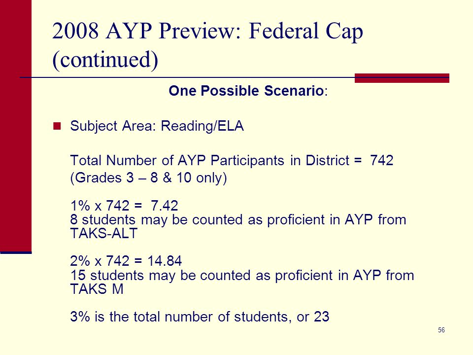 56 2008 AYP Preview: Federal Cap (continued) One Possible Scenario: Subject Area: Reading/ELA Total Number of AYP Participants in District = 742 (Grades 3 – 8 & 10 only) 1% x 742 = 7.42 8 students may be counted as proficient in AYP from TAKS-ALT 2% x 742 = 14.84 15 students may be counted as proficient in AYP from TAKS M 3% is the total number of students, or 23