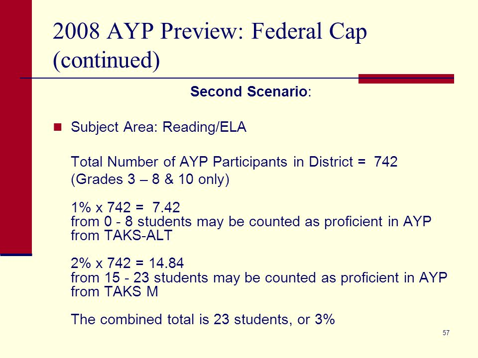 57 2008 AYP Preview: Federal Cap (continued) Second Scenario: Subject Area: Reading/ELA Total Number of AYP Participants in District = 742 (Grades 3 – 8 & 10 only) 1% x 742 = 7.42 from 0 - 8 students may be counted as proficient in AYP from TAKS-ALT 2% x 742 = 14.84 from 15 - 23 students may be counted as proficient in AYP from TAKS M The combined total is 23 students, or 3%