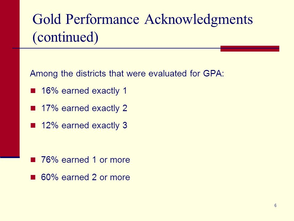 6 Gold Performance Acknowledgments (continued) Among the districts that were evaluated for GPA: 16% earned exactly 1 17% earned exactly 2 12% earned exactly 3 76% earned 1 or more 60% earned 2 or more