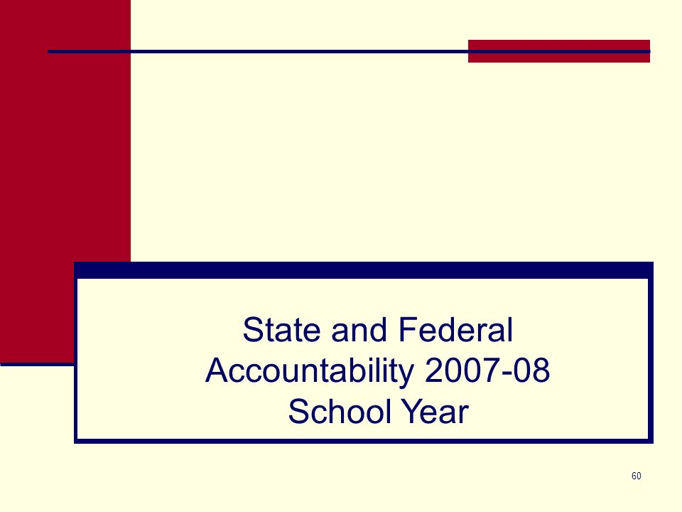 60 State and Federal Accountability 2007-08 School Year