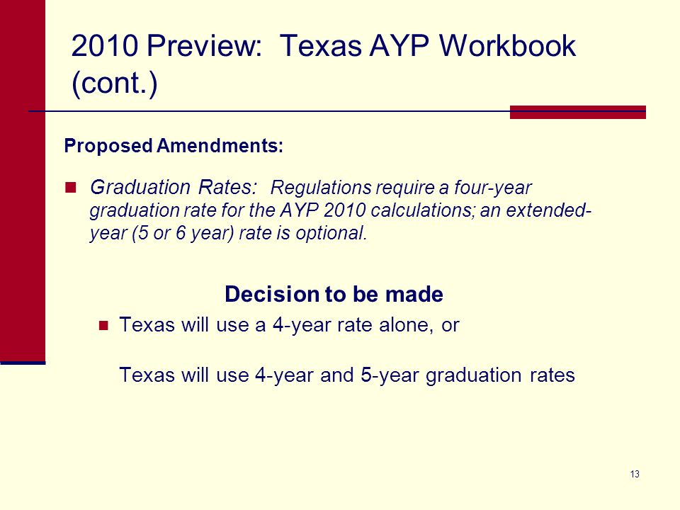 13 2010 Preview: Texas AYP Workbook (cont.) Proposed Amendments: Graduation Rates: Regulations require a four-year graduation rate for the AYP 2010 calculations; an extended- year (5 or 6 year) rate is optional.