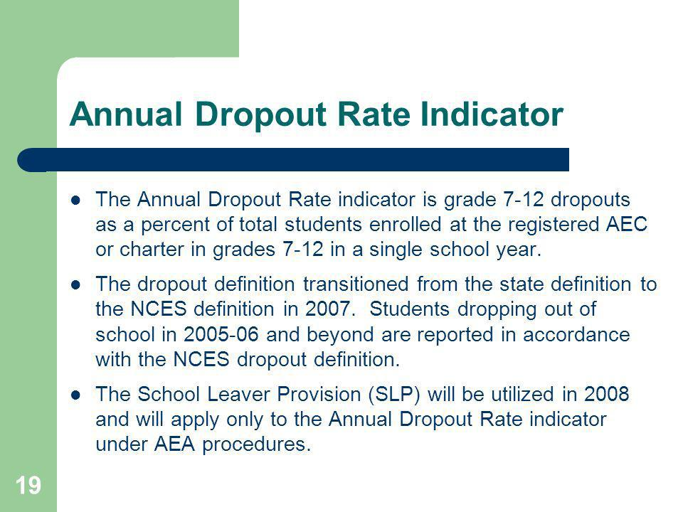 19 Annual Dropout Rate Indicator The Annual Dropout Rate indicator is grade 7-12 dropouts as a percent of total students enrolled at the registered AEC or charter in grades 7-12 in a single school year.