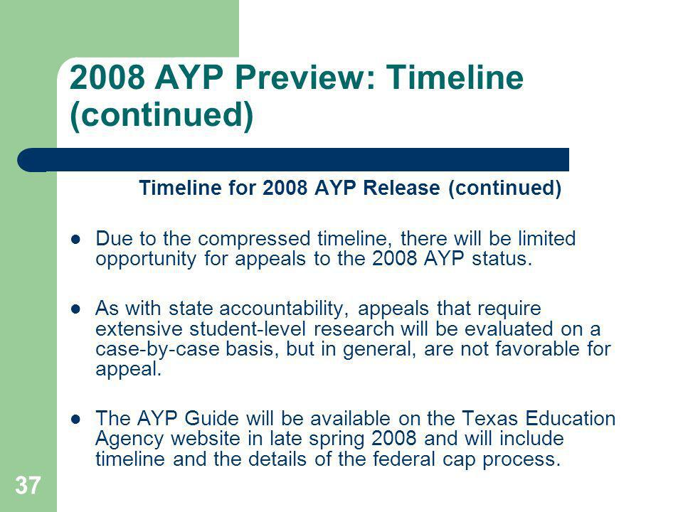 37 2008 AYP Preview: Timeline (continued) Timeline for 2008 AYP Release (continued) Due to the compressed timeline, there will be limited opportunity for appeals to the 2008 AYP status.