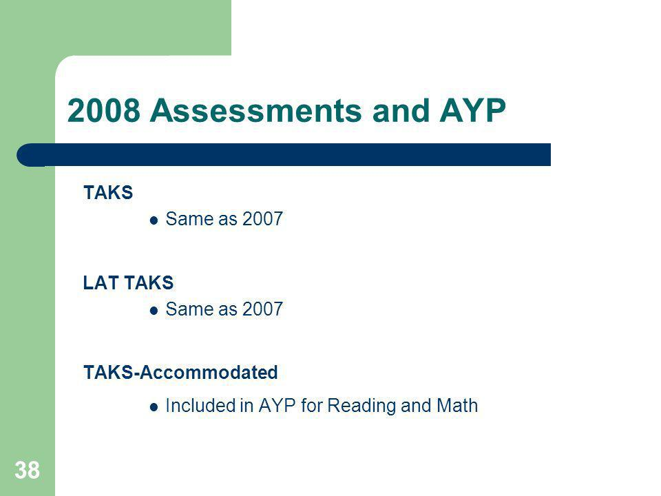 38 2008 Assessments and AYP TAKS Same as 2007 LAT TAKS Same as 2007 TAKS-Accommodated Included in AYP for Reading and Math