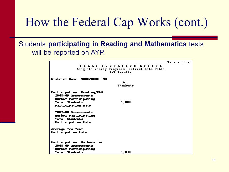 16 How the Federal Cap Works (cont.) Students participating in Reading and Mathematics tests will be reported on AYP.