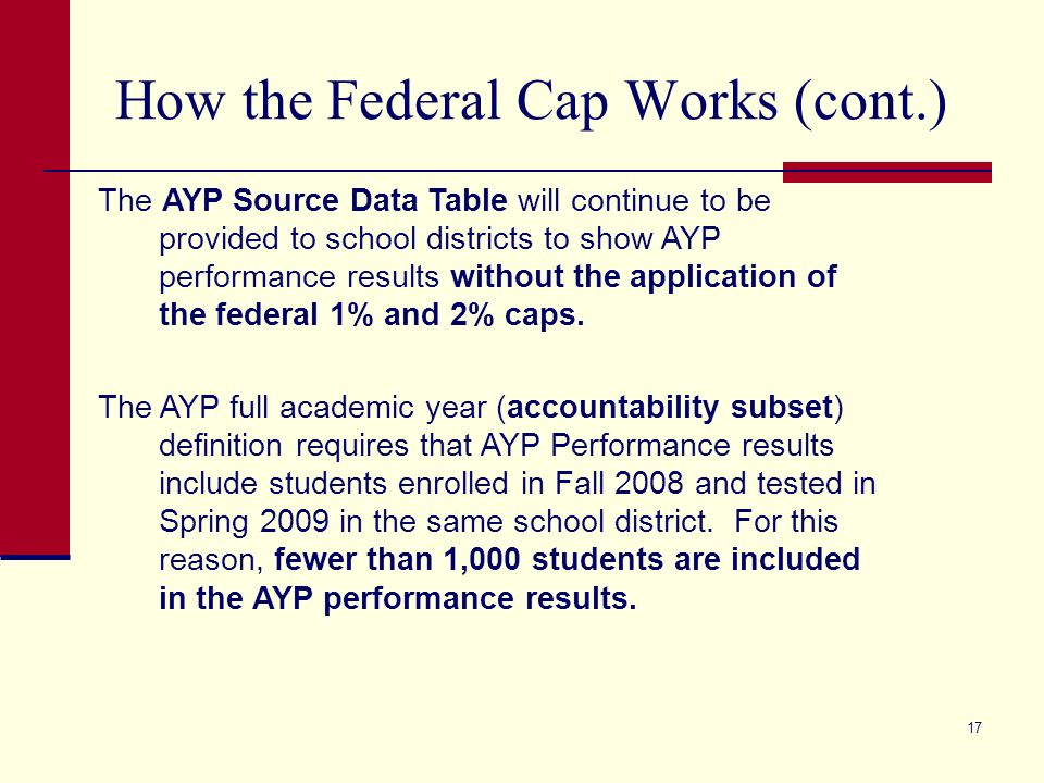 17 How the Federal Cap Works (cont.) The AYP Source Data Table will continue to be provided to school districts to show AYP performance results without the application of the federal 1% and 2% caps.