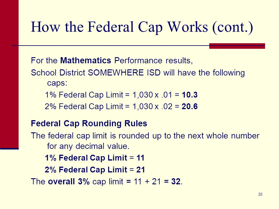 20 How the Federal Cap Works (cont.) For the Mathematics Performance results, School District SOMEWHERE ISD will have the following caps: 1% Federal Cap Limit = 1,030 x.01 = 10.3 2% Federal Cap Limit = 1,030 x.02 = 20.6 Federal Cap Rounding Rules The federal cap limit is rounded up to the next whole number for any decimal value.