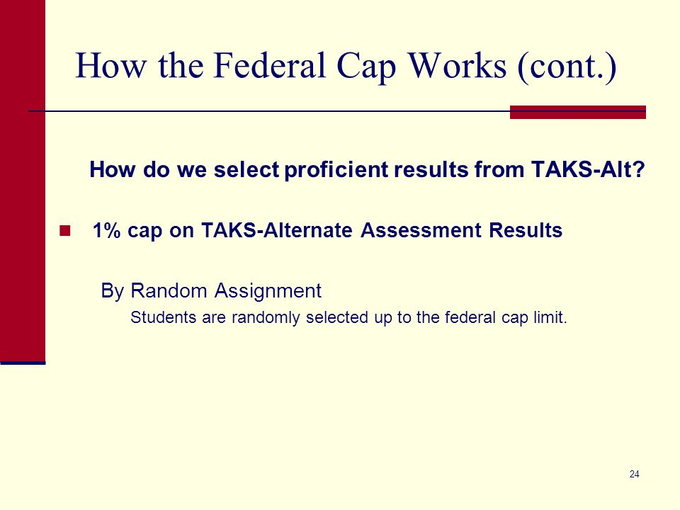 24 How the Federal Cap Works (cont.) How do we select proficient results from TAKS-Alt.