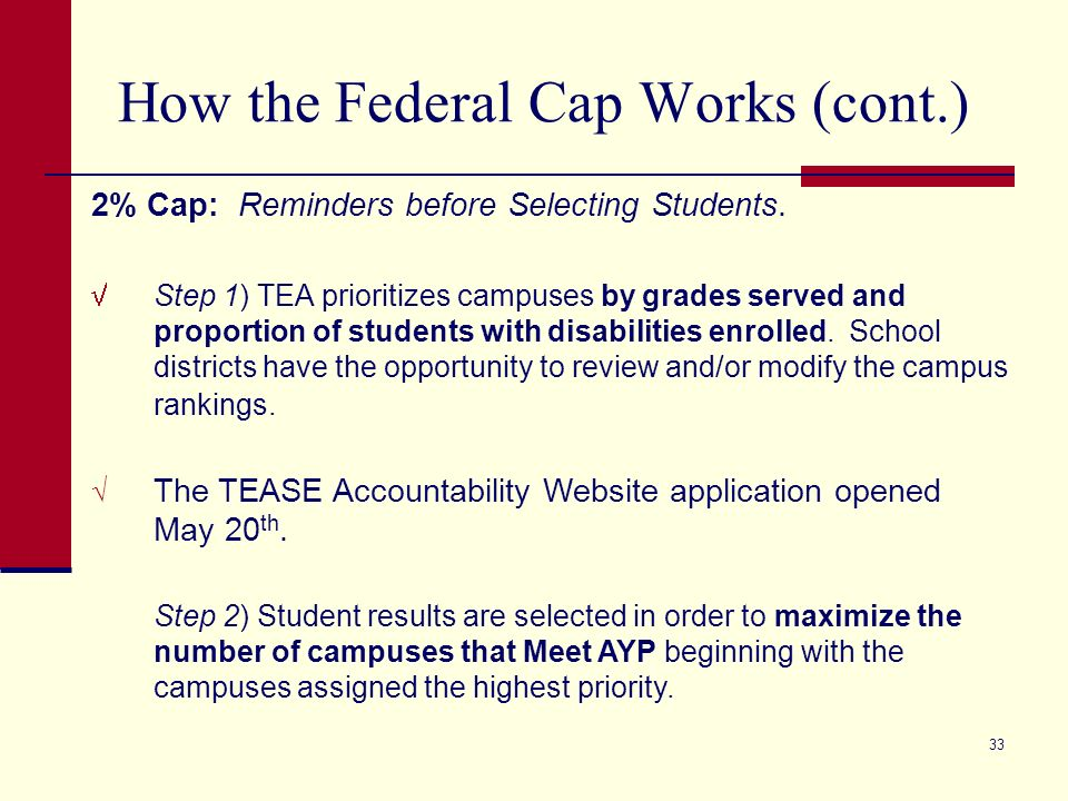 33 How the Federal Cap Works (cont.) 2% Cap: Reminders before Selecting Students.