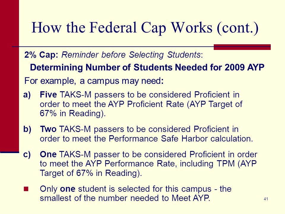 41 How the Federal Cap Works (cont.) 2% Cap: Reminder before Selecting Students: Determining Number of Students Needed for 2009 AYP For example, a campus may need: a)Five TAKS-M passers to be considered Proficient in order to meet the AYP Proficient Rate (AYP Target of 67% in Reading).