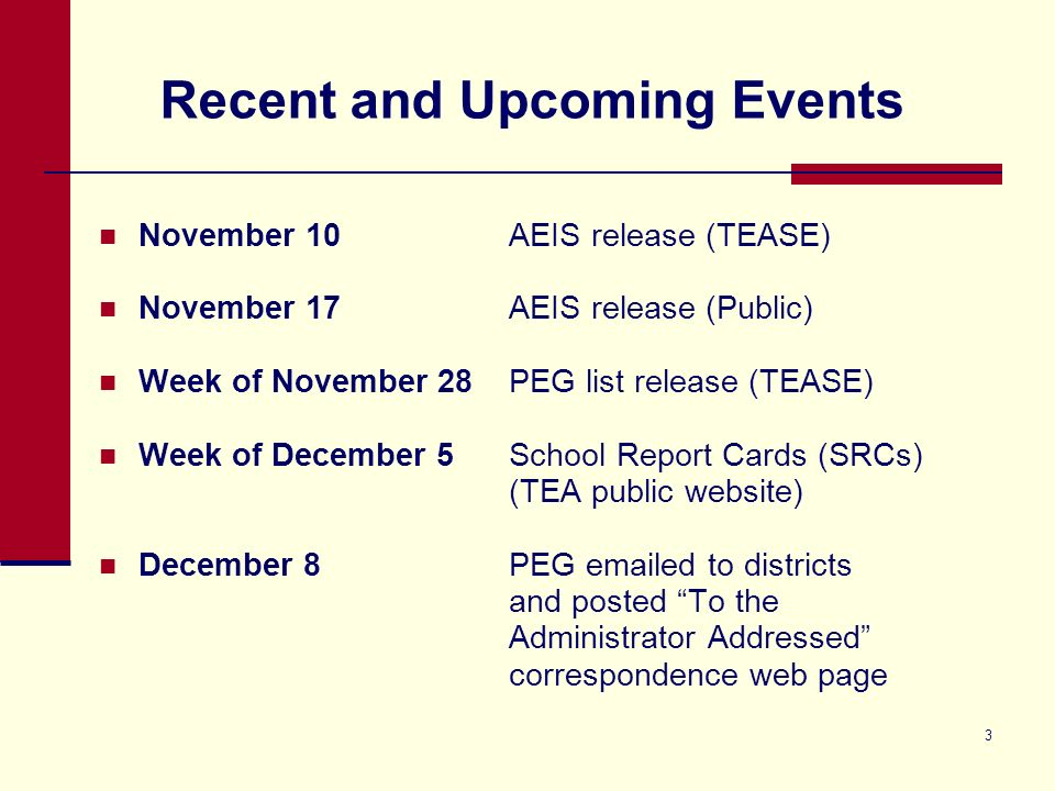 3 Recent and Upcoming Events November 10AEIS release (TEASE) November 17 AEIS release (Public) Week of November 28PEG list release (TEASE) Week of December 5School Report Cards (SRCs) (TEA public website) December 8 PEG emailed to districts and posted To the Administrator Addressed correspondence web page
