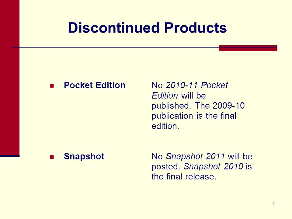 4 Discontinued Products Pocket EditionNo 2010-11 Pocket Edition will be published.