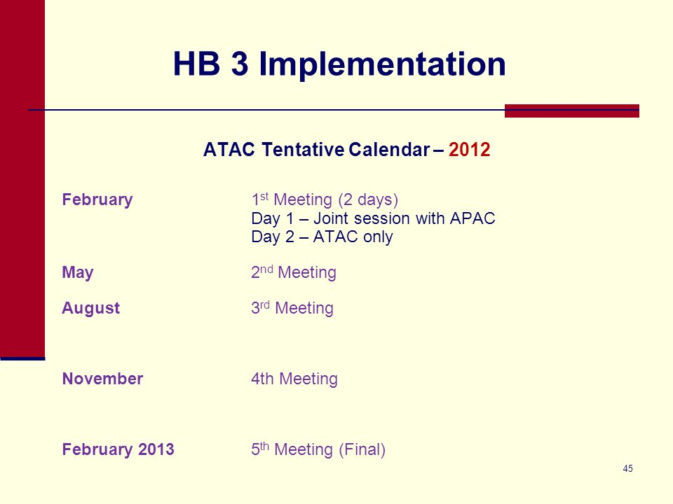 HB 3 Implementation ATAC Tentative Calendar – 2012 February1 st Meeting (2 days) Day 1 – Joint session with APAC Day 2 – ATAC only May2 nd Meeting August3 rd Meeting November4th Meeting February 20135 th Meeting (Final) 45
