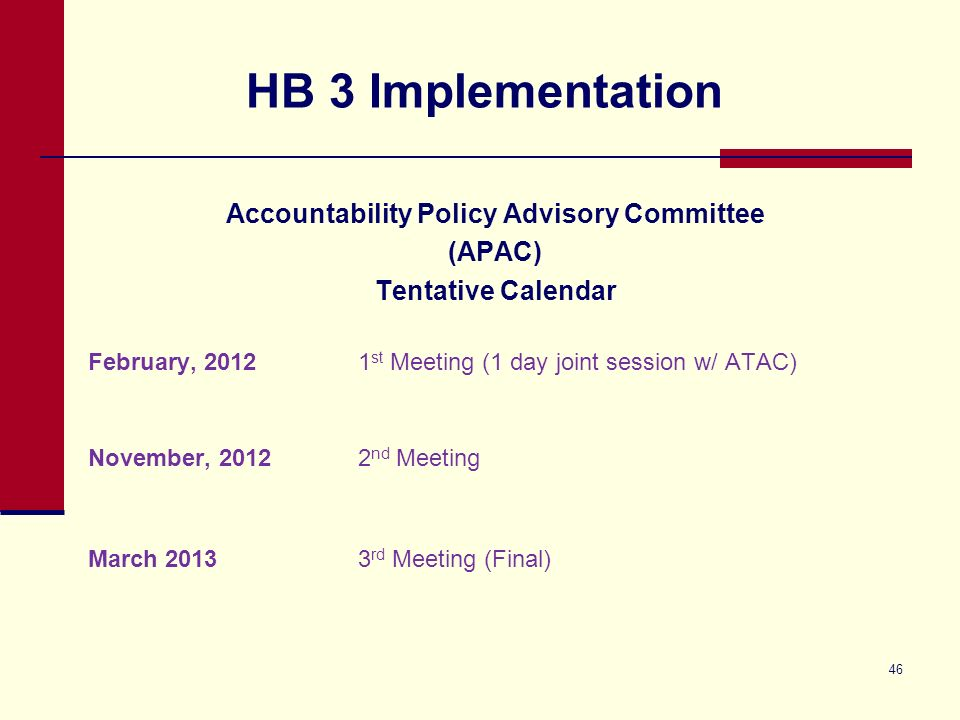 HB 3 Implementation Accountability Policy Advisory Committee (APAC) Tentative Calendar February, 20121 st Meeting (1 day joint session w/ ATAC) November, 20122 nd Meeting March 20133 rd Meeting (Final) 46