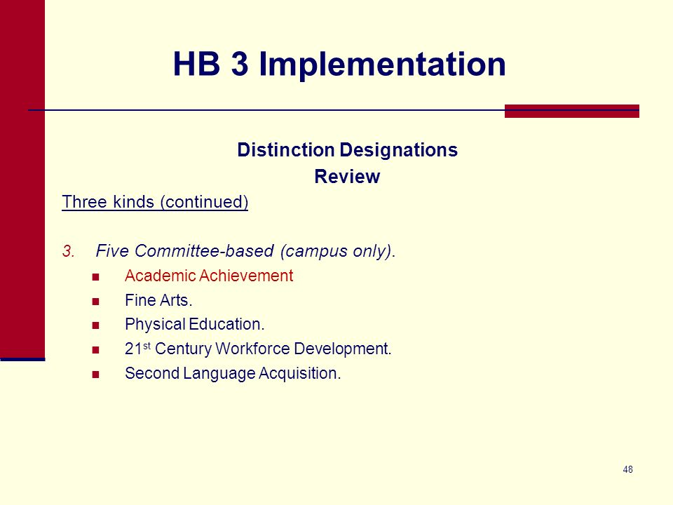 HB 3 Implementation Distinction Designations Review Three kinds (continued) 3.