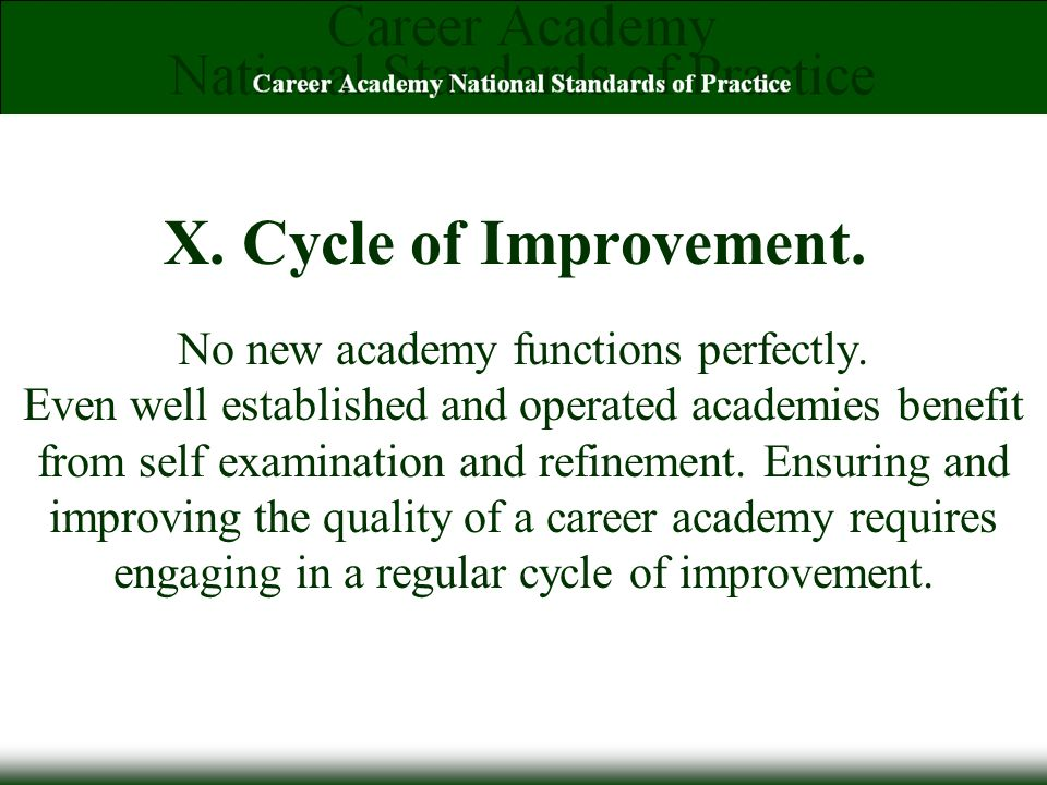 X. Cycle of Improvement. No new academy functions perfectly.