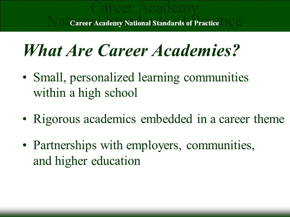 What Are Career Academies.