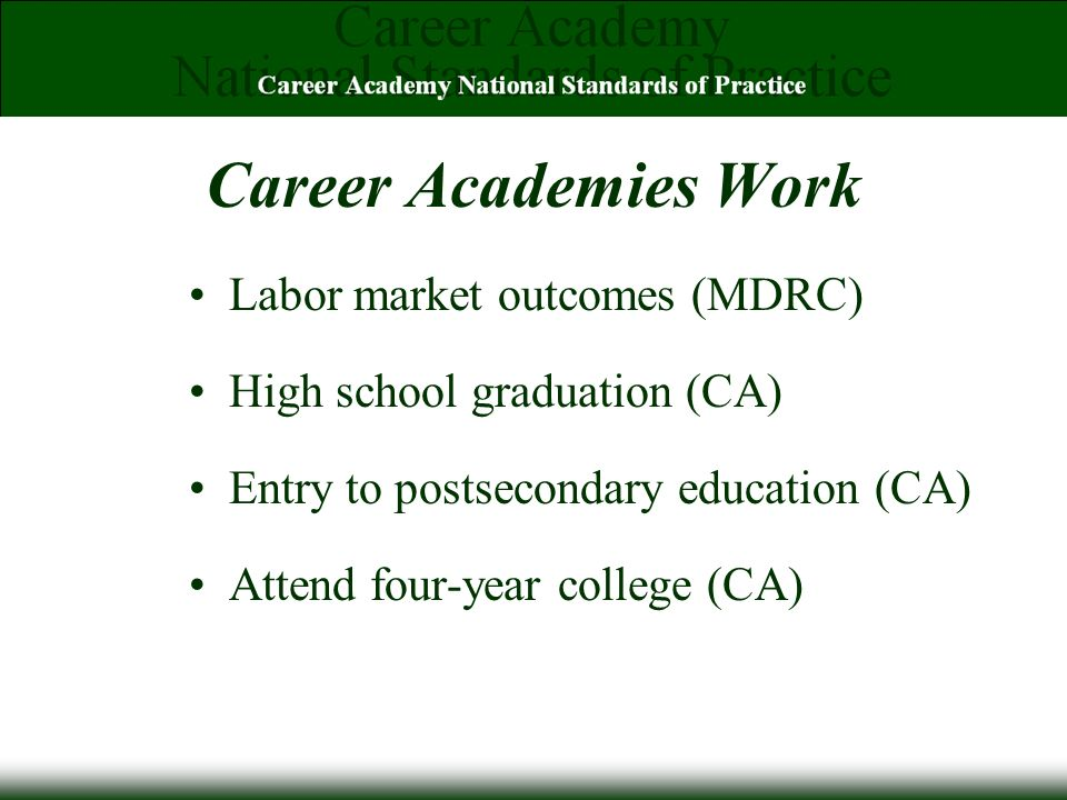 Career Academies Work Labor market outcomes (MDRC) High school graduation (CA) Entry to postsecondary education (CA) Attend four-year college (CA)