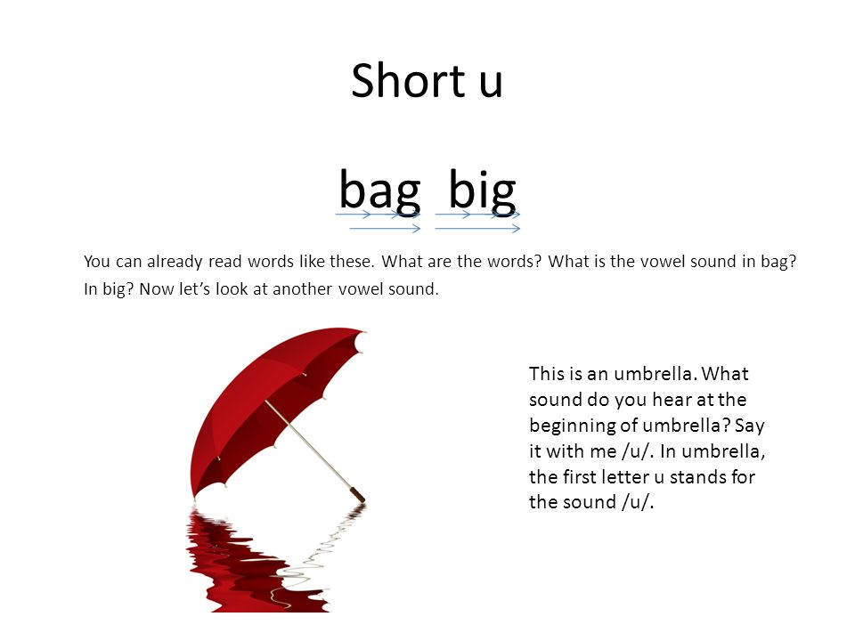 Short u bag big You can already read words like these.