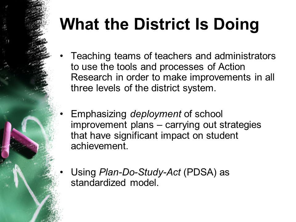 What the District Is Doing Teaching teams of teachers and administrators to use the tools and processes of Action Research in order to make improvements in all three levels of the district system.
