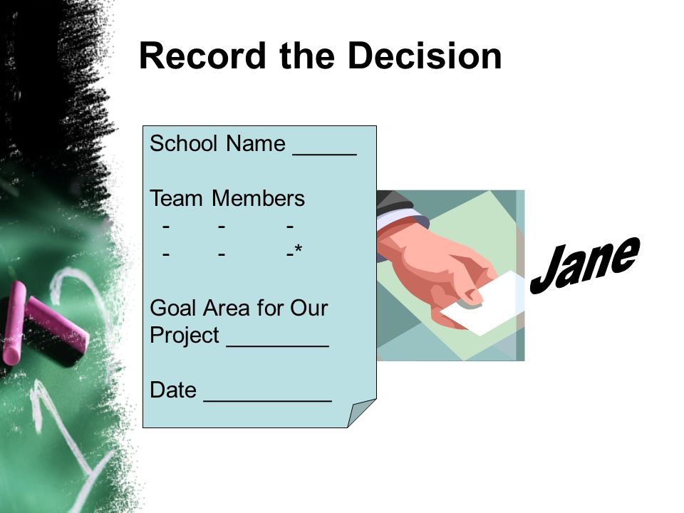 Record the Decision School Name _____ Team Members * Goal Area for Our Project ________ Date __________