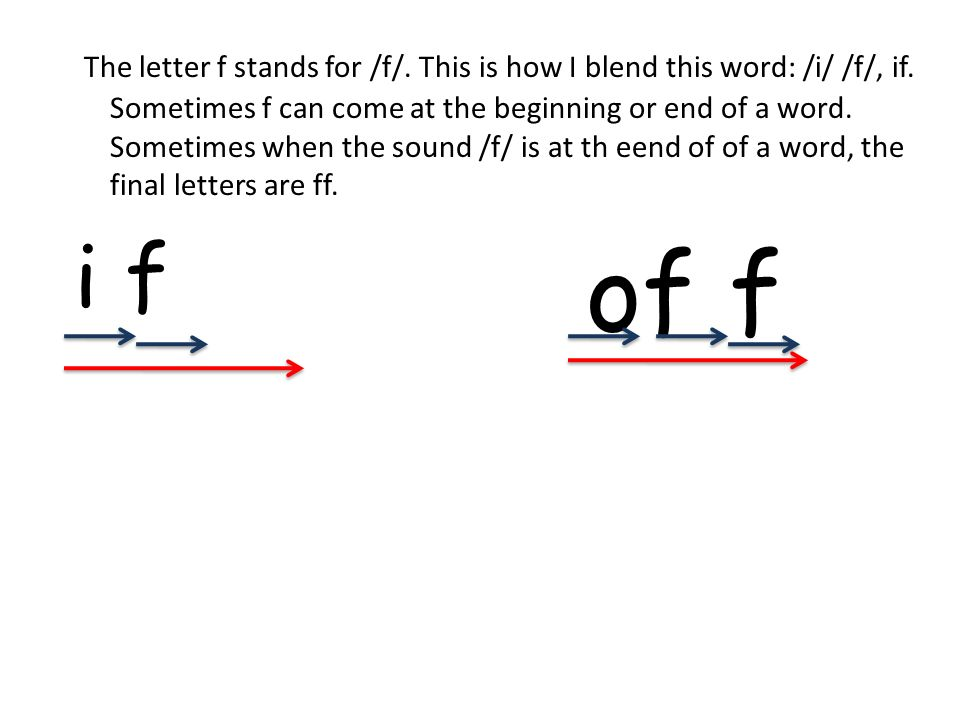 The letter f stands for /f/. This is how I blend this word: /i/ /f/, if.