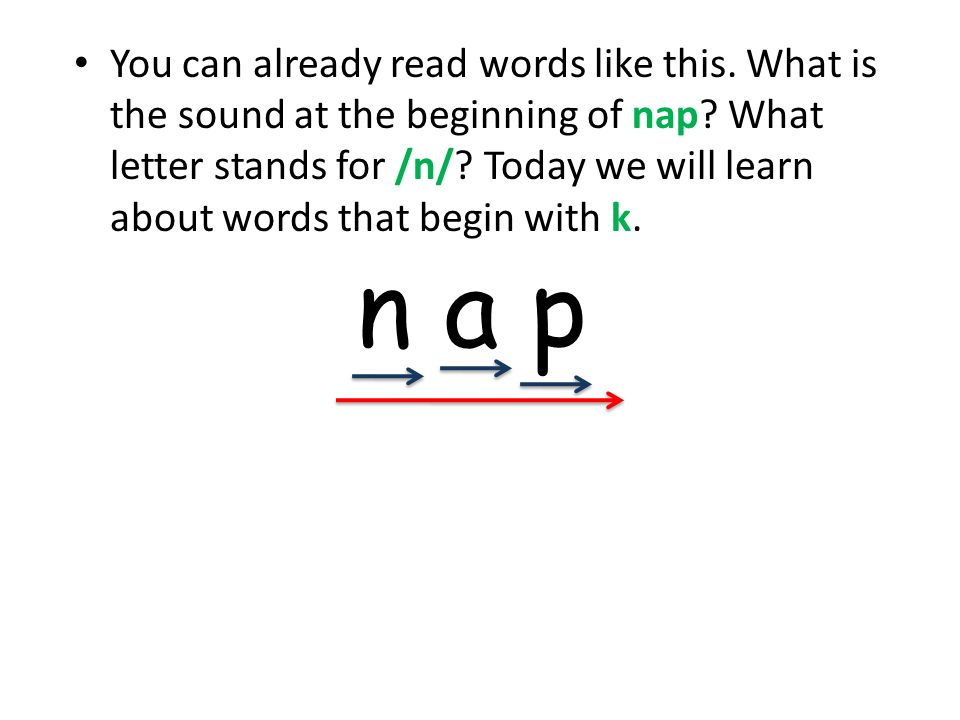 You can already read words like this. What is the sound at the beginning of nap.