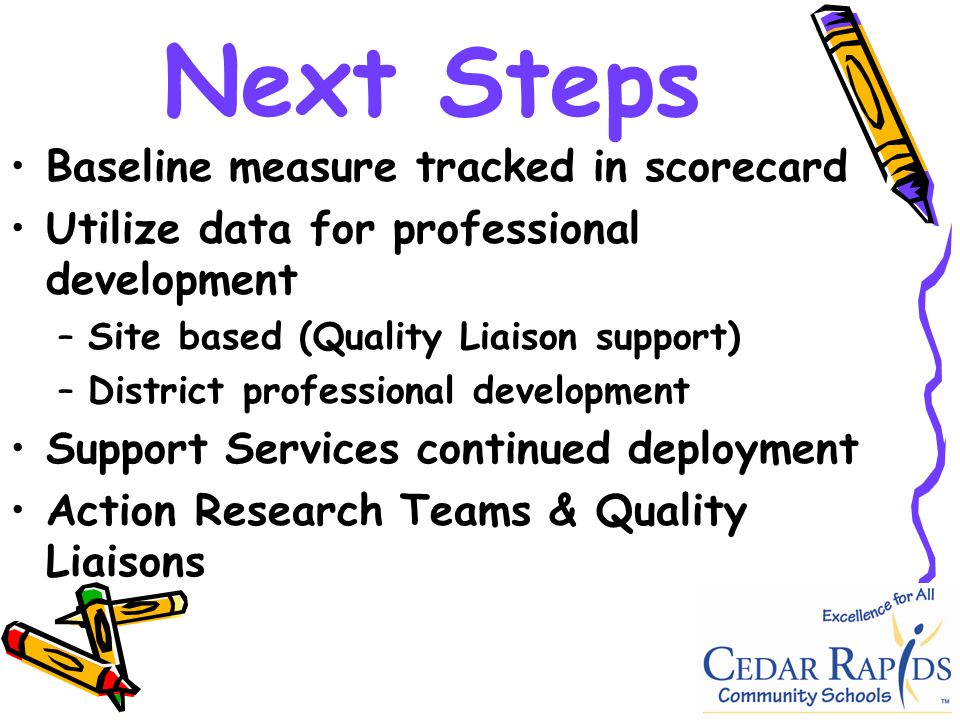 Next Steps Baseline measure tracked in scorecard Utilize data for professional development –Site based (Quality Liaison support) –District professional development Support Services continued deployment Action Research Teams & Quality Liaisons