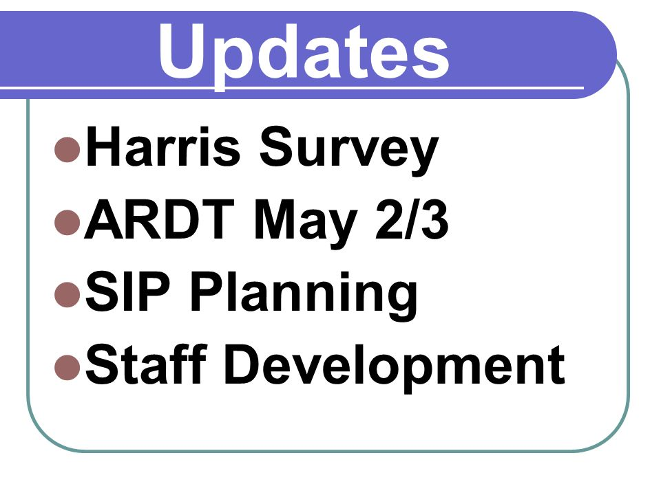 Updates Harris Survey ARDT May 2/3 SIP Planning Staff Development