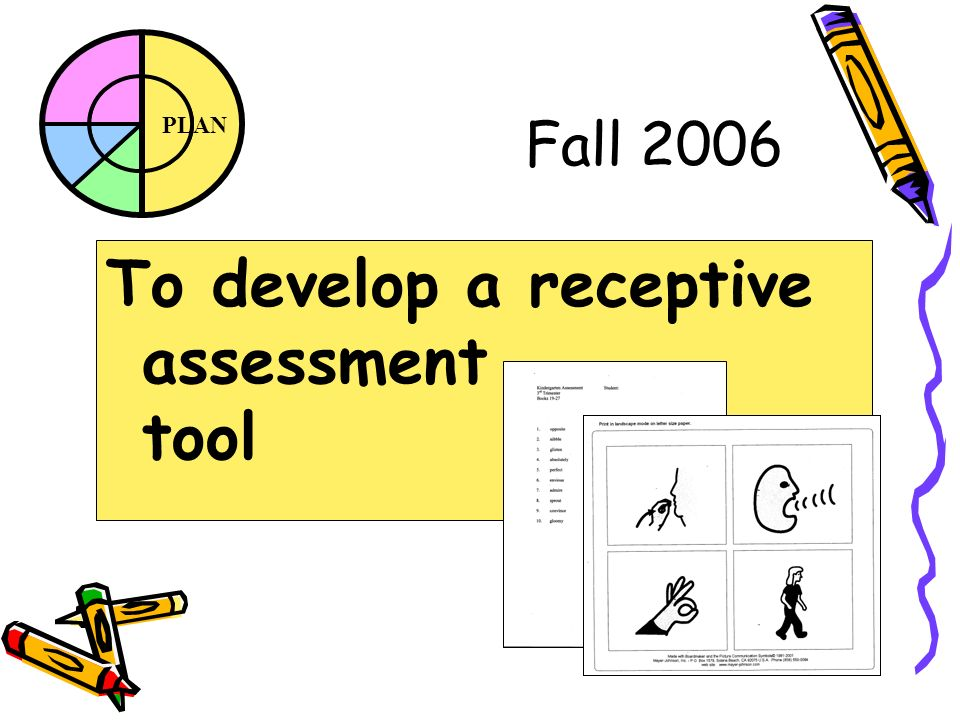 PLAN Fall 2006 To develop a receptive assessment tool