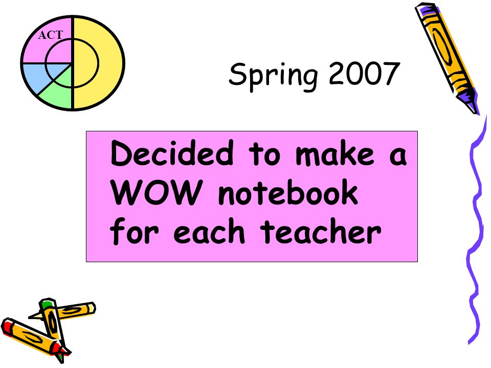 ACT Spring 2007 Decided to make a WOW notebook for each teacher