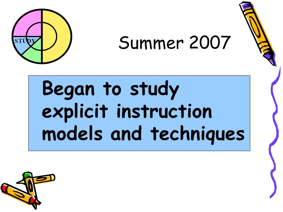 STUDY Summer 2007 Began to study explicit instruction models and techniques
