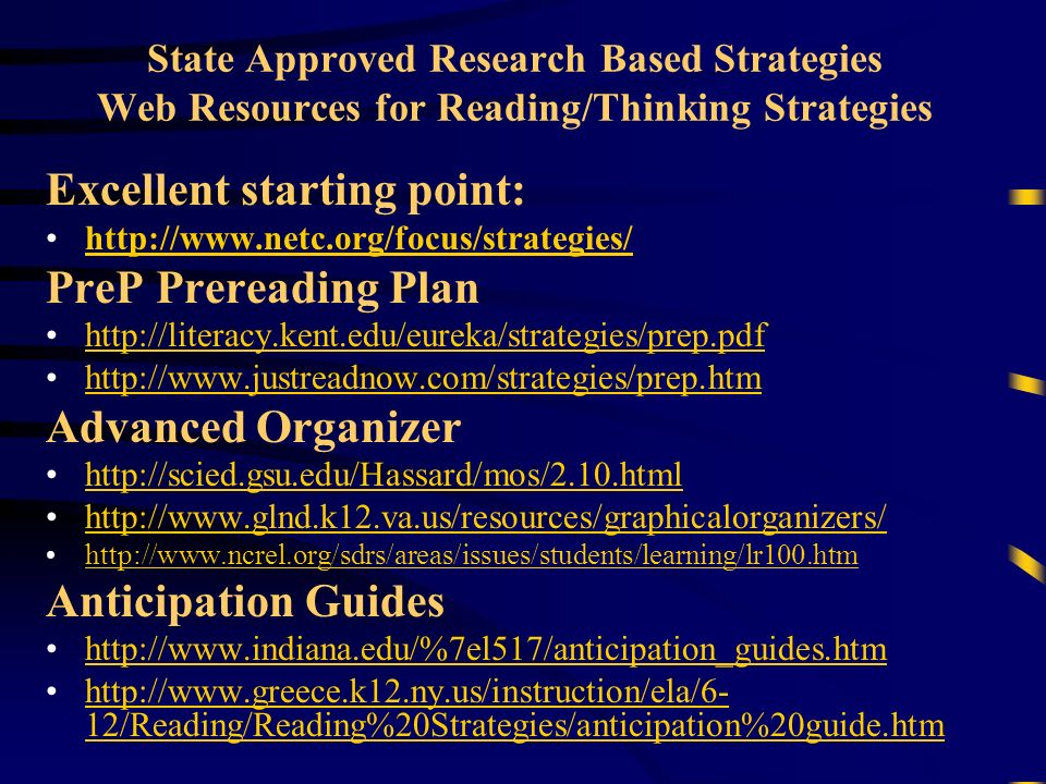 State Approved Research Based Strategies Web Resources for Reading/Thinking Strategies Excellent starting point: http://www.netc.org/focus/strategies/ PreP Prereading Plan http://literacy.kent.edu/eureka/strategies/prep.pdf http://www.justreadnow.com/strategies/prep.htm Advanced Organizer http://scied.gsu.edu/Hassard/mos/2.10.html http://www.glnd.k12.va.us/resources/graphicalorganizers/ http://www.ncrel.org/sdrs/areas/issues/students/learning/lr100.htm Anticipation Guides http://www.indiana.edu/%7el517/anticipation_guides.htm http://www.greece.k12.ny.us/instruction/ela/6- 12/Reading/Reading%20Strategies/anticipation%20guide.htmhttp://www.greece.k12.ny.us/instruction/ela/6- 12/Reading/Reading%20Strategies/anticipation%20guide.htm