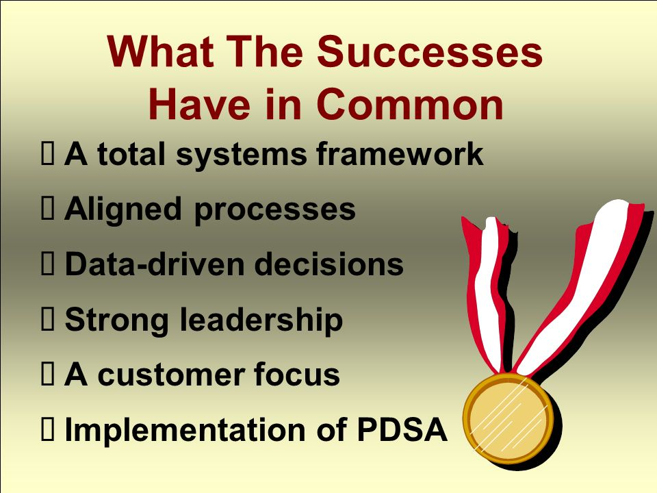 What The Successes Have in Common A total systems framework Aligned processes Data-driven decisions Strong leadership A customer focus Implementation of PDSA